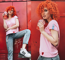 Vlada Kozachyshche - Booriva T Shirt, Bershka Jeans, Adidas Sneakers, Bershka Earrings - Twist