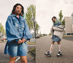 RuiJun L - Aliexpress Red Fan Earrings, Primark Pink Long Sleeved Top, Tehani Blue Belted Pocket Detail Denim Mini Dress, C&A Puff Jacket, Aliexpress Fire Socks, Aliexpress Platform Sneakers - BLUE BELTED POCKED DETAIL DENIM MINI DRESS