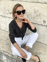 Anna Borisovna - Inwear Sweater, Vintage Pants, Other Stories Shoes, Céline Sunglasses - Grey & White