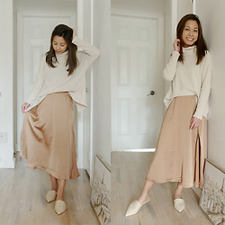 Melanie P. - Knit Backless Turtleneck Ribbed Sweater, Asos Satin Midi Skirt, Pointed Mules - Dressing Up in Neutral Pastels