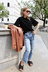 Anna Borisovna - H&M Shirt, Other Stories Jeans, Arket Shoes, Inwear Coat, Mango Sunglasses - The Leather Coat
