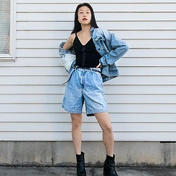 Gi Shieh - Thrifted, 2020 Denim Jacket, Old Fast Fashion, 2014 Black Dress, Raided Mom's Closet Denim Mom Shorts, Raided Mom's Closet Black Belt, Old Fast Fashion, 2016 Black Platform Boots - Another Take on the Canadian Tuxedo