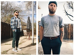 Jacob Sever - Vans Checkerboard Slip Ons, J. Crew Belt, Ceremony Pocket Tee, Thrifted Cuffed Beanie, J. Crew Sunglasses, St. John'S Bay Flannel - I Only Like Violence Violence