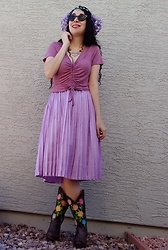 Saguaro Style - Marshall's Purple Cinch Tee, Endless Rose Pleated Purple Midi Skirt, Justin Boots Rose Embroidered Cowboy (Vintage) - 05.08.20