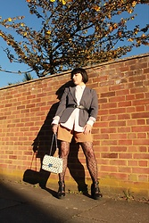Weronika Bukowczan - Vintage Pinstripe Grey Blazer, Ralph Lauren Pinstripe Pink Shirt, Upcycled Beige Shorts, Leopard Fishnet Tights, White Studded Bag, Black Leather Belt, New Look Chunky Black Boots - Wild Formal