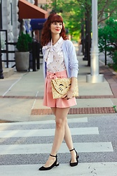 Bleu Avenue Ofbleuavenue - Retrolicious White Pink Cat Print Bow Blouse, Shein Button Front Self Tie Pink Paper Bag Waist Shorts, Forever 21 Black Mary Jane Flats - Feline Fine