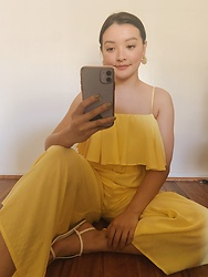 Haley D. - Target Earrings, Forever 21 Yellow Jumpsuit, Forever 21 Sandals - Yellow
