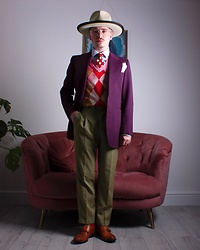 "Harry J Bartlett - Thomas Farthing Wide Brimmed Trilby, Ollie Quinn 'Yusef L' Oversized Aviators, Reiss Blue Business Shirt, My Granddad Polka Dot Tie, Vivienne Westwood Anglomania Tie Dye Sweater Vest, Vintage Purple 70's Blazer, Bespoke Fishtail Suit Trousers, Debenhams Red Socks, Office Brown Monk Strap Shoes - ""We'll Meet Again"""