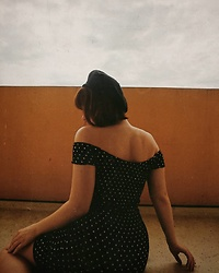 Polly Alba - Topshop Polka Dot Dress, Asos Black Beret - Wishful Thinking