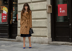 Veronika Lipar - Burberry Camel Kensington Trench Coat, Mango Camel Sweater, Fendi Blue Midi Skirt, Gianvito Rossi Blue Pumps - Classy Outfit for Cold Snaps in May