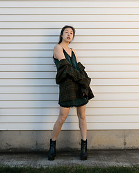 Gi Shieh - Plaid Blazer, Old Fast Fashion, Super Green Slip, Old Fast Fashion, 2016 Black Platform Boots - Masc + Fem