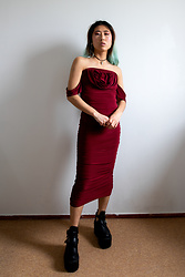 RuiJun L - Shop Chokers Jade Choker, Femme Luxe Finery Wine Bardot Cowl Neck Ruched Midi Dress - B O R D E A U X
