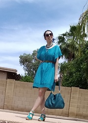 Saguaro Style - Anthropologie Maeve Turquoise Dress, Sven Clogs Turquoise Diamond Sandal, Coach Ny Lexi Bag, Miss Patina London Cat Belt - All turquoise!