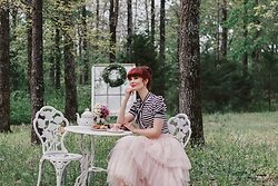 Bleu Avenue Ofbleuavenue - Chic Wish Love Me More Pink Tulle Skirt, Shein Black And White Striped Bow Top - The Perfect Afternoon for Dreaming