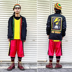 @KiD - Typhoon Mart Sunglasses, Obey Bad Brains, Adidas Rasta Shorts, Dr. Martens 10 Hole Boots - JapaneseTrash559