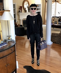 Shannon D - Gianvito Rossi Dragon Embroidered Boots, Frame Black Denim, Hermès Bag, Nation Ltd. Top, Prada Sunglasses - Back In Black