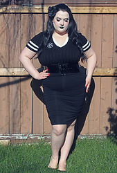Caroline Swietkowski - Hot Topic Knit Top, Heart Hips Black Ruched Pencil Skirt, Amazon Black Patent Belt - You ever danced with the Devil in the pale moonlight?