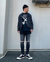★masaki★ - Neuw Denim Bomber, Neuw Denim Rebel Skinny, Black Flag Tee, Converse Ct70 - Neuw Denim