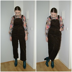 Mucha Lucha - Second Hand Shirt, Monki Overalls, Topshop Boots - Teal boots