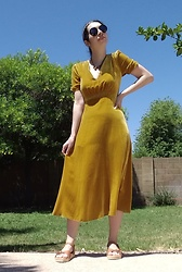 Saguaro Style - Anthropologie Mustard Velvet Dress, Sven Clogs Flat Wood Platform Sandals - 05.12.20