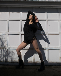 Gi Shieh - Old Fast Fashion Black Cardigan, Old Fast Fashion Black Lacy Shorts, Old Fast Fashion Black Platform Boots - All-black