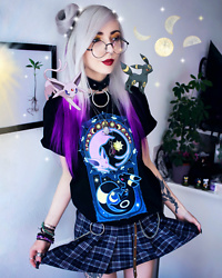 Kimi Peri - Plaid Skirt, H&M Keychain, Chained Belt, Disturbia Ring Choker, Round Glasses, Solrayz Moonstone Necklace, Supergeek Art Of Evolution Tee - Art Of Evolution ☀️🌙