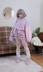 Lovely Blasphemy - Wc Purple Pink Jumper, 6%Dokidoki フリルベルト/Pastel Dream, Fila X Asos Pink Platform Sneakers, Sugar Thrillz Heart Shorts - Was the earth put here just to nourish human loneliness?