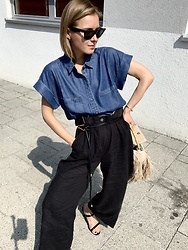 Anna Borisovna - Esprit Shirt, Esprit Pants, Mango Belt, Mango Bag, Billi Bi Shoes - The Denim Shirt