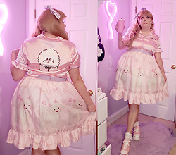 PastelKawaii Barbie - Lazy Oaf Ruffle Pink Poodle Waitess Top, Handmade Retro White Lavender Heart Belt, Cutesykink Poodle Lolita Skirt, Ebay White Lace Socks, Amazon Pink Converse Platforms, Handmade Lavender Gingham Hand Wrap, Handmade Lavender Heart Earrings - Kawaii Poodle Diner Girl