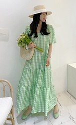 Miamiyu K - Miamasvin Half Sleeve Gingham Check Maxi Dress | $ 23.90 - Green Season