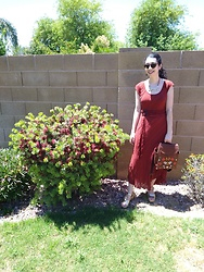 Saguaro Style - Anthropologie Maroon Dress, Leafling Bags Cork Leather Bee Backpack, Sven Clogs Gold Clog Sandals - 5.16.20