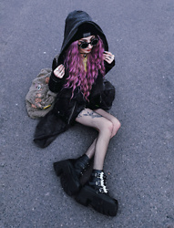 Kimi Peri - The Anti Life Beanie, Drop Dead Fluffy Bag, Demonia Ashes 55 Platforms, Fishnet Tights, Na Kd Faux Leather Jacket, Rogue And Wolf Dusk Cardigan, Witch Worldwide Symbol Glasses - Bat Girl 🦇💜