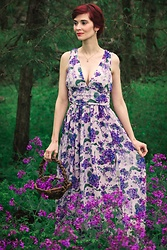 Bleu Avenue Ofbleuavenue - Shein Double V Neck Ruched Waistband Floral Violets Dress - Wild Violets