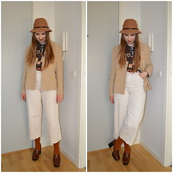 Mucha Lucha - Second Hand Hat, Second Hand Shirt, Glamorous Belt, Second Hand Blazer, H&M Trousers, Mango Heels - Beige blazer