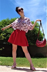 Saguaro Style - Diesel Heart Lollipop Print Blouse, Urban Outfitters Red Circle Skirt, Liebskind Berlin Crescent Crossbody, Sven Clogs Bow Tie Peep Toe - Sweetheart style 05.23.20
