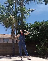 Saguaro Style - Levis Red Bandana, Vintage Lace Up Denim Top, Express High Waist Paperbag Mom Jeans, Sven Clogs Leaf Punch - Faux jumpsuit 5.24.20