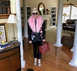 Shannon D - Hellbent Leather Pink Fur Stole, Gucci Sequin Loafers, Black Leather Cropped Pants, Hermès Bag - Holiday Weekend
