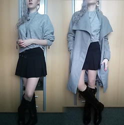 Grim Alex - Aliexpress Moon Earrings, Aliexpress Bat Necklace And Amethyst Necklace, H&M Grey Sweater, Thrifted Black Skirt With Buckles, Zoot Grey Coat, Black Laced Knee High Boots - Grey day