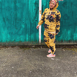 Gemma Buffalo - The Hundreds Yellow Sweatsuit, Adidas Orange Sneakers, Acne Studios Pink Beenie - Lockdown loungewear