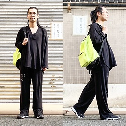 @KiD - Typhoon Mart Grasses, Obey Neon Bag, Monochrome Kimono Tops, Monochrome Pants, Nike Air Lift - JapaneseTrash565