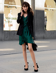 Veronika Lipar - Dolce & Gabbana Black Jacquard Blazer, Self Portrait Emerald Green One Side Shoulder Wrap Dress, Ganni Black Bow Kitten Slingback Pumps - Wrap Dress for Work