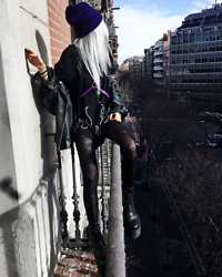 Kimi Peri - Platform Boots, Patterned Tights, Vii & Co. Faux Leather Jacket, Blxck Tokyo Flame Tee, Yesstyle Purple Harness, Purple Beanie - The World Outside