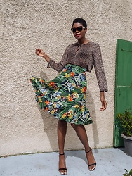 PAMELA - Mango Animal Print Blouse, Zara Tropical Print Skirt - Exotic Prints