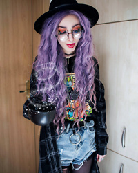 Kimi Peri - Killstar Eternal Eclipse Fedora Hat, Yesstyle Denim Shorts, Plaid Shirt, Solrayz Moonstone Necklace, Vintage Cross Choker, Supergeek A Kitty To The Past Tee, Round Glasses, Zelda Shield Necklace, Vii & Co. Ring Belt, Black Tights - Coffee, Magic, Hope & Peace ☕️✨💜