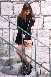 Greta Vuković - Guess Lace Detailed Black Dress, Valford Tights, Saint Laurent French Alike Shoes, Guess Little Bag - Little Black Dress