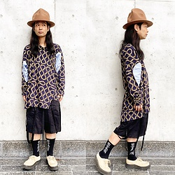 @KiD - Vivienne Westwood Mountain Hat, Vivienne Westwood Squiggle Shirts, Komakino Bondage Shorts, (K)Ollaps David Bowie Socks (出火吐暴威), George Cox Rubber Sole - JapaneseTrash570