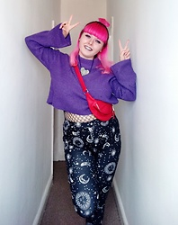 April Willis - H&M Purple Crop Jumper, Red Fake Leather Bum Bag, Shein Galaxy Print Leggings, Marks & Spencer Whale Net Fishnet Tights, Heart Ribcage Necklace - Tinky Winky