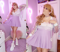 PastelKawaii Barbie - Mola Iridescent Sheer Lavender Jacket, Trash Queen Pink Gingham Top, Vintage White Heart Buckle Belt, Cutiekill Plus Size Lavender Pleated Tennis Skirt, White Pink Heart Platform Sneakers, Amazon Lavender Heart Choker, Handmaded Lavender Heart Earrings, Ebay Pink Gingham Hair Tie, Cutiekill Pixel Purple Heart Socks - Bubblegum Electra Heart