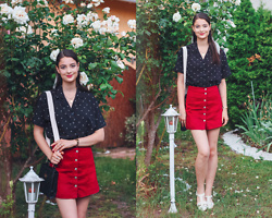 Nora Aradi - Yesstyke Shirt, Asos Shoes, Stradivarius Skirt, Yesstyle Bag, Casio Watch - White Roses