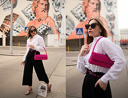 Daniela Guti - Bag, Shirt - Na-kd: linen outfit with pink bag